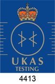 UKAS Testing Accreditation Logo, test laboratory number 4413